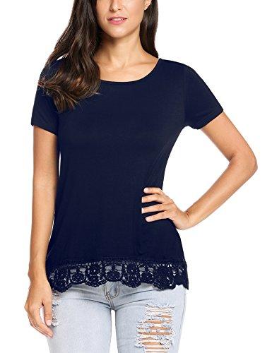 Parabler Damen Sommer T-Shirt Kurzarm Tops mit Floral Spitze Spitzenshirt Bluse  Hemd Shirt Tunika 895f7a699d