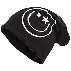 shenky - Gorro caído - Ideal para la pérdida de cabello y durante un tratamiento - Negro con emoticono blanco
