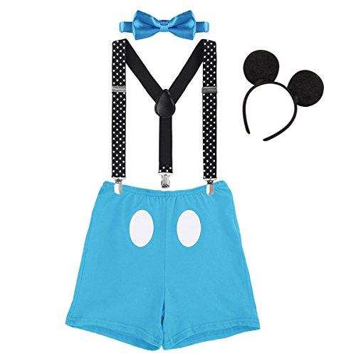 IBTOM CASTLE Säugling Baby Jungen Mädchen Mickey Mouse 1. / 2./ 3. Geburtstag Halloween Kostüm Outfit Set Unterhose+Fliege + Y-Form Hosenträger+Maus Ohren 4pcs Bekleidungssets 007 Blau 12-18 Monate
