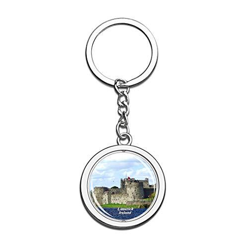 nd König Johns Castle Limerick 3D Kristall Drehen Rostfreier Stahl Schlüsselbund Reisen Stadt Andenken Schlüsselring ()