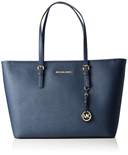 Michael Kors Damen Jet Set Travel Saffiano Leather Top-Zip Tote Henkeltaschen 30T5GTVT2L, Blau(Navy 406), 43x30x13 cm (B x H x T)