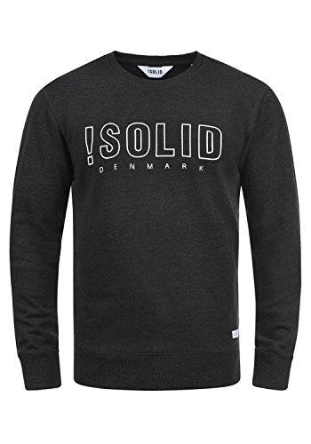 !Solid Kian Herren Sweatshirt Pullover Pulli Mit Rundhalsausschnitt, Größe:S, Farbe:Dark Grey Melange (8288) -
