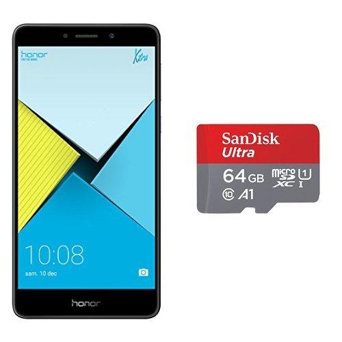 Honor 6X Smartphone portable débloqué 4G (Ecran: 5,5 pouces - 32 Go - emplacement de carte 2-en-1 - Android 6.0 Marshmallow) Gris + Carte Mémoire 64GB