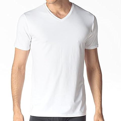 Lapasa Herren T-Shirt, 2er Pack V-Neck T-Shirt für Herren, troknet schnell , T-Shirt für Männer, V-Ausschnitt, Modal, M008, Weiß, L (Regular Fit)