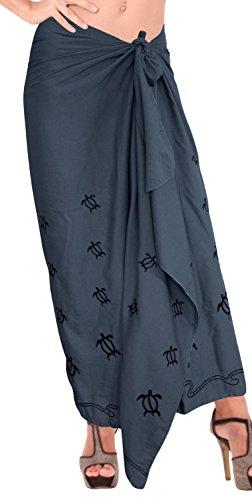 LA LEELA Rayon Designer Bikini Frauen Rockbadebekleidung Sarong Kleid Pareo Strand grau Wickeln