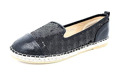 Damen Schuhe Slipper Espadrilles Ballerinas Slip-On Flats schwarz (8166) (38)