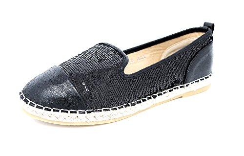 Damen Schuhe Slipper Espadrilles Ballerinas Slip-On Flats schwarz (8166) (38) (Plaid-luxus-kleid-shirt)