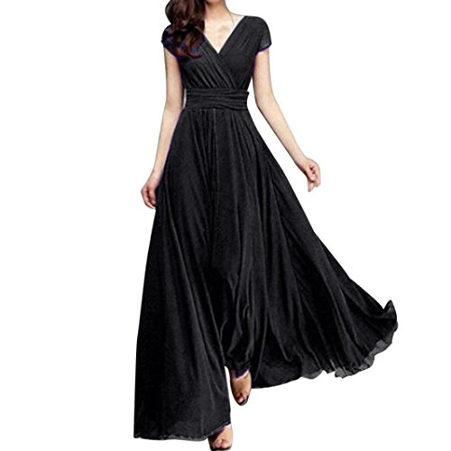 Lange Rock Weiße Zigeuner (Vectry Kleider Damen Rockabilly Kleid Elegant Kleidung Lange Kleidersack Frauen Sommer Festliche Lange Damenkleider - Fashion Casual Solid Chiffon V-Neck Evening Party Long Dress (S, Schwarz))