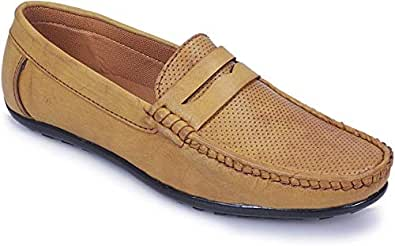 POLLACHIEF Comfort Beige Synthetic Casual Loafers Shoes for Men's