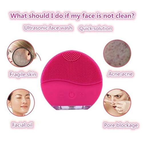 Sonic Cepillo limpiador para el rostro y masaje con temporizador,  FDA Grade silicona,  recargable impermeable Anti- Aging facial Exfoliator Body Makeup Tool