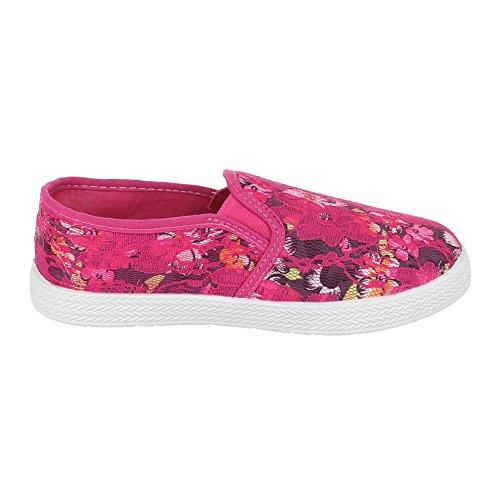 Kinder Schuhe, 942-1, BALLERINAS SPITZEN VERZIERTE SLIPPER Pink