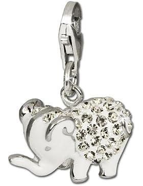 SilberDream Glitzer Charm Elefant weiß Zirkonia Kristalle Anhänger 925 Silber für Bettelarmbänder Kette Ohrring...