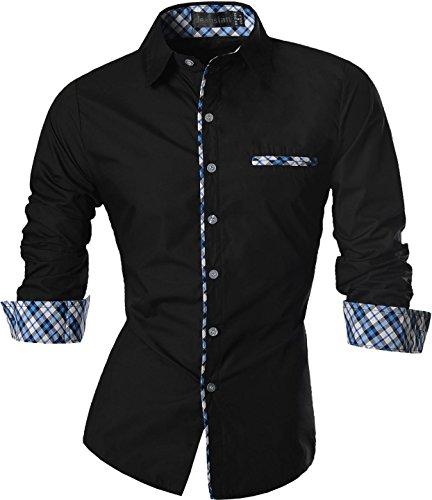 jeansian Herren Freizeit Hemden Shirt Tops Mode Langarmlig Men's Casual Dress Slim Fit Z029 Z020_Black