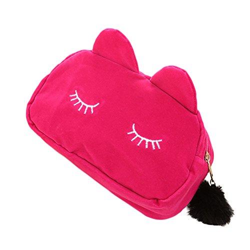 Westeng Bolso Cosmético para Mujeres Forma del Gato Maquillaje del Bolso con Cierre Cremallera Cosméticos Viaje Multifuncional de Neceser (Rosa)
