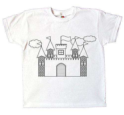 5ef21cebfdc2f Kinder T-Shirt Ritterburg Zum bemalen und ausmalen mit Vordruck Spiel Zum  Kindergeburtstag Kindergarten für