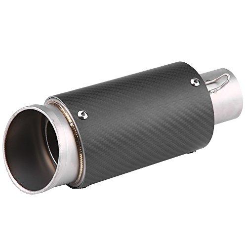 Qiilu Carbon Fiber Edelstahl Motorrad Schalldämpfer Auspuffendrohr Tipp Endrohr Universal (Fiber Mm 125)