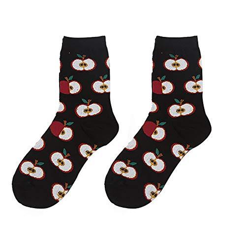 Leisial Baumwolle Socken Damen Socken Winter Socken Lustige Socken Damen Essen Socken 35-40 Apple