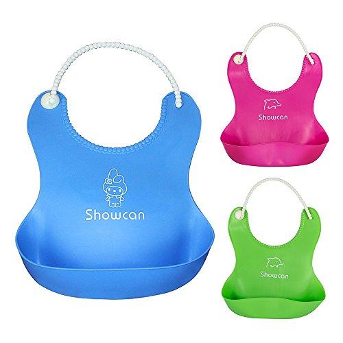 Pack de 3 Babero Impermeable de Silicona con Bolsillo Redondo WEINAS® Unisex Babero Flexible y Ajustable para Comer y Alimentación de Bebé/Niños 3 colores( Azul Verde