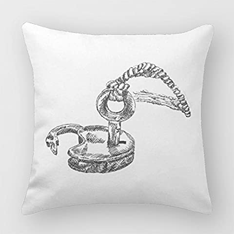 Follies Cushion Covers For Sofa Lock Drawing Antique Key 16 X 16 Pillow Cases Cotton Linen