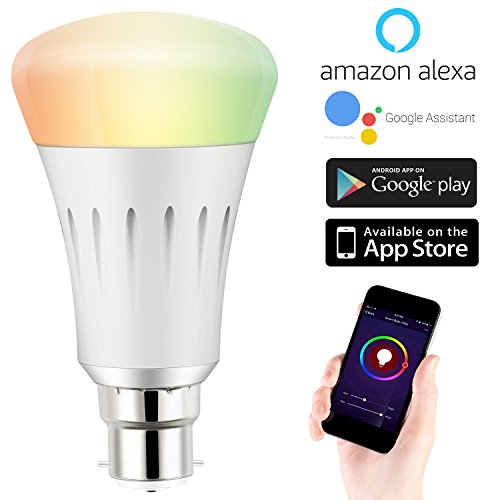 Expower Smart Wifi B22 Rgb Dimmable 7W LED Bulb Compatible with Alexa Echo  Remote Control by Smartphone Ios and Android 60 W Equivalent, White