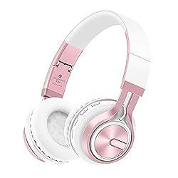 Bluetooth Over-Ear Kopfhörer,EONANT Bluetooth Kopfhörer Wireless Stereo Headset Faltbarer Kopfhörer mit Mikrofon,TF Karte Modus,3,5mm Audio AUX, für PC TV Smart Phones&Tablets (White-Rose)