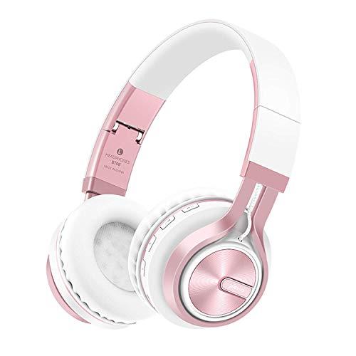 Bluetooth Over-Ear Kopfhörer, EONANT 4 in 1 BT-08 4.0 Bluetooth Wireless Headset Faltbarer Kopfhörer mit Mikrofon mit Mikrofon / FM / TF Karte / AUX für PC TV Smart Phones & Tablets (White-Rose)