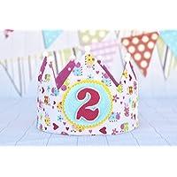 Corona cumpleaños bebe hecho a mano con tela de algodón y apliques de fieltro