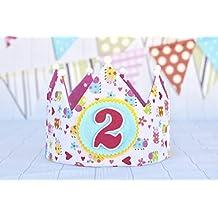 Corona cumpleaños bebe hecho a mano con tela de algodón y apliques ...
