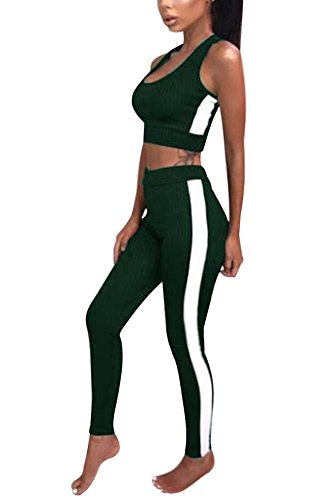 Donna Senza Maniche Striscia Sportiva Tuta Da Ginnastica Abbigliamento 2 Pezzi Casual Canotta Tank Crop Tops Fitness Jogging Pantaloni A Verde