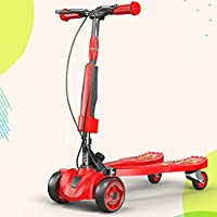Kick Scooter for Kids Foldable – 4 Wheels Support, Non-Slip Double Pedal, Flexible Opening, And Closing, Two-Hand Brake System for Girls & Boys 3-6-12 Years Old,Red