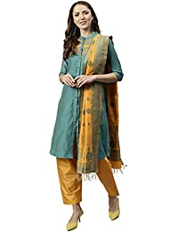 9755a28af3 Jaipur Kurti Women Turquoise Blue   Yellow Solid Straight Chanderi Kurta  with Patiala   Dupatta