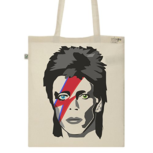 Tote Bag Imprimé Ecru - Toile en coton bio - David Bowie Major Tom
