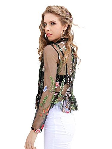 Simplee Apparel les mailles mailles floral haut brodé à manches longues. Noir