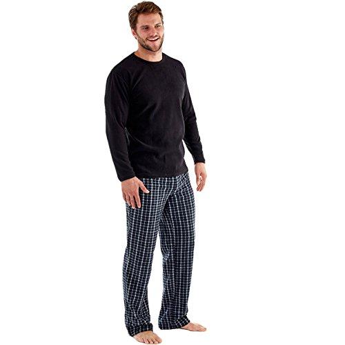 Hombres de Harvey James Thermal Top, pantalón de forro polar cálido pijama conjuntos