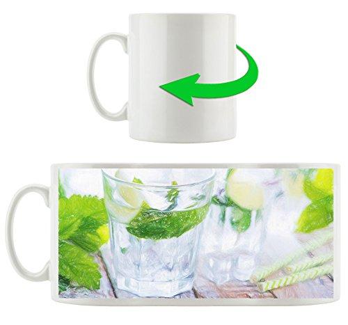 Mojito-Gläser mit Minze Kunst Buntstift Effekt, Motivtasse aus weißem Keramik 300ml, Tolle...