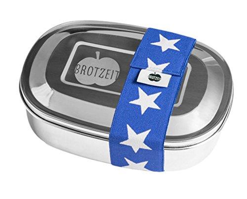 Brotzeit- Lunchbox Brotdose uno Edelstahl mit Band Geschenk Schulanfang, Blau