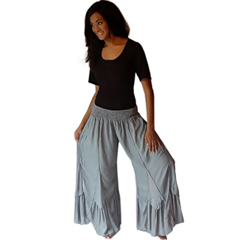 LOTUSTRADERS Damen Lagenlook Muschelsaum Hose (Size Plus Gauchos)
