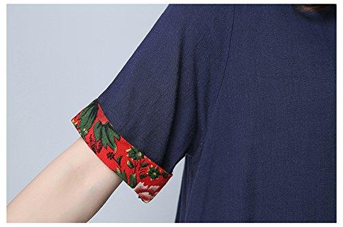 ACVIP Girocollo Vestito Puro con Bordo Grande a Fiori Rossi a Maniche Medie,2 Colori Blu scuro
