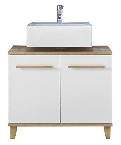 Waschbeckenunterschrank Waschtischunterschrank Unterschrank Svea 1 | Braun-Weiß | Eiche |