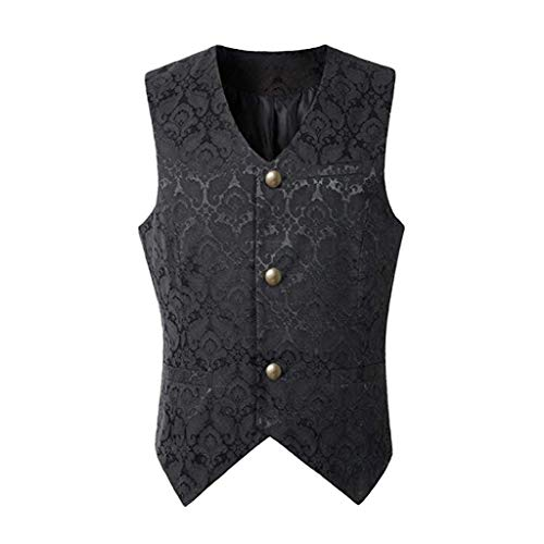 CICIYONER Herren Party Oberbekleidung Print Mantel Frack Jacke Gothic Gehrock Uniform Kostüm S-XXXL (L, Schwarz Ärmellose Jacke)