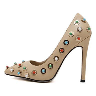 Moda Donna Sandali Sexy donna tacchi Slip-on Rhinestone Punta donne pompe Stiletto Wedding/festa/vestire tacchi Dimensione femmina 8.5 US almond