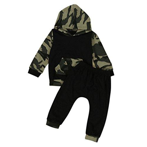 Pullover Set Kleinkind Btruely Unisex Langarm Baby Clothes Set Camouflage Spielanzug + Hosen Kappe Outfits Kinder (100, Armee Grün)