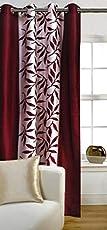 Panipat Textile Hub Polyester Door Curtain - 210 X 121 Cm, Floral Maroon