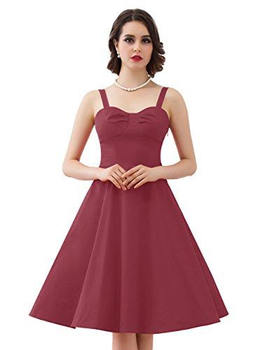 Dresstells Version5.0 Vintage 1950's Audrey Hepburn robe de soirée cocktail avec bretelles Bordeaux