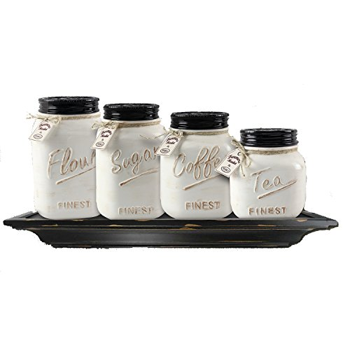 White Ceramic Mason Jar Canister Set (Set Of 4) By Zallzo