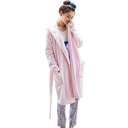 HXQ Inverno Giapponesi Pigiama di Flanella Cappuccio Accappatoio Pink