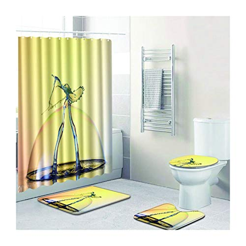 Bishilin Anti Schimmel Duschvorhang Waschbar 180x180 Wassertropfen Toilettenabdeckung Badezimmerteppich Set 4 Teilig Badematten rutschfest Waschbar 45x75