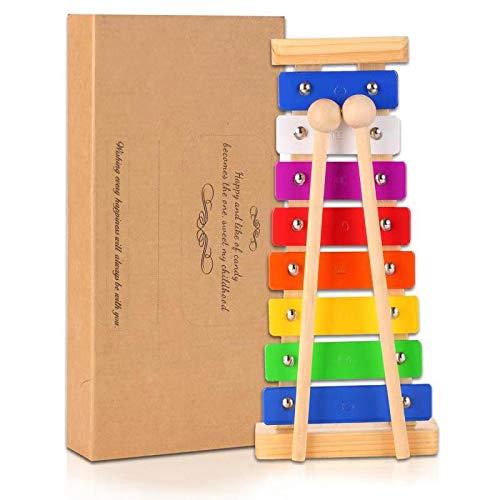 14pcs Musikinstrumente für Kinder Spielzeug aus Holz Musik Instrumente Kinder Lernspiel Lernen Musik Spiel Mädchen der Jungen (Xylophon)