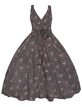 Abito da Donna stile Vintage anni 1950, Abito stile Rockabilly Swing, Abito per festa con stampa di Bambi