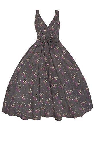 Neu Damen Retro Vintage 1950er Rockabilly Swing Party Kleid In Bambi Aufdruck Grau